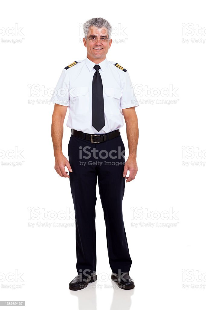 Airline Pilot Whole Body Picture Proper Uniform stock photo