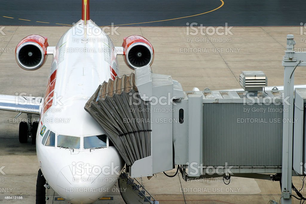 TAM Airline avião no Aeroporto Internacional de Brasília, Brasil foto royalty-free