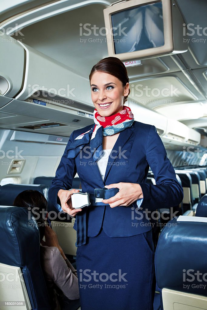 Airline safety demonstration stock photo