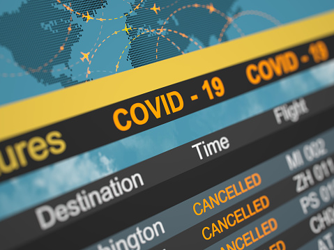 Airline schedule cancelled flying directions. Abstract 3d concept. Covid 19