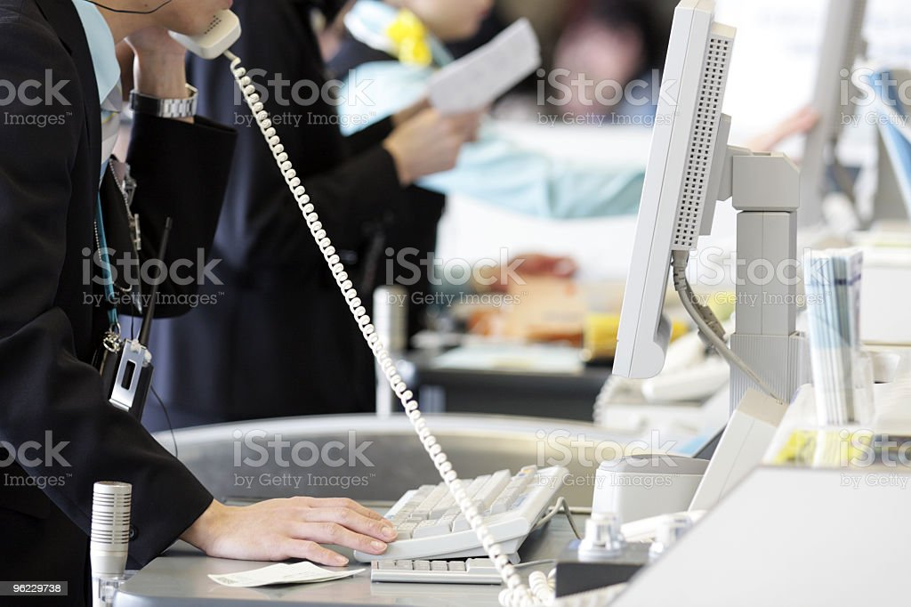 Airline ticket agents stock photo