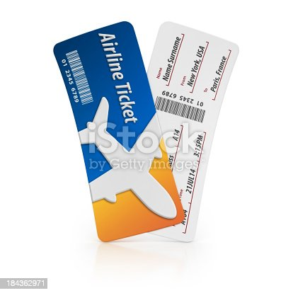isolated two airline tickets.3d render.All data is faked.