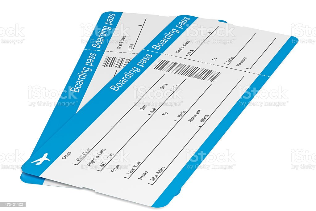 Airline Tickets with clipping path stock photo