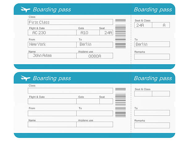 airline tickets with clipping path - aeroplane ticket stock photos and pictures