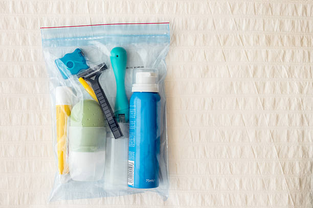 Airline toiletry bag. stock photo