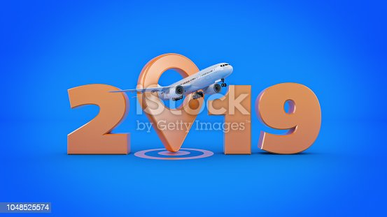 istock Airline travel concept. Airport pointer. 2019 New Year sign. 3d rendering. 1048525574