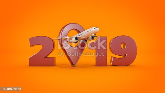 istock Airline travel concept. Airport pointer. 2019 New Year sign. 3d rendering. 1048525674