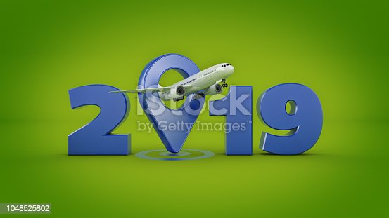 istock Airline travel concept. Airport pointer. 2019 New Year sign. 3d rendering. 1048525802
