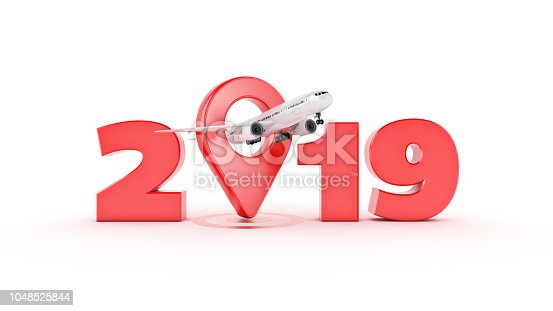 istock Airline travel concept. Airport pointer. 2019 New Year sign. 3d rendering. 1048525844