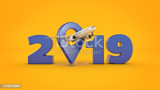 istock Airline travel concept. Airport pointer. 2019 New Year sign. 3d rendering. 1048525900