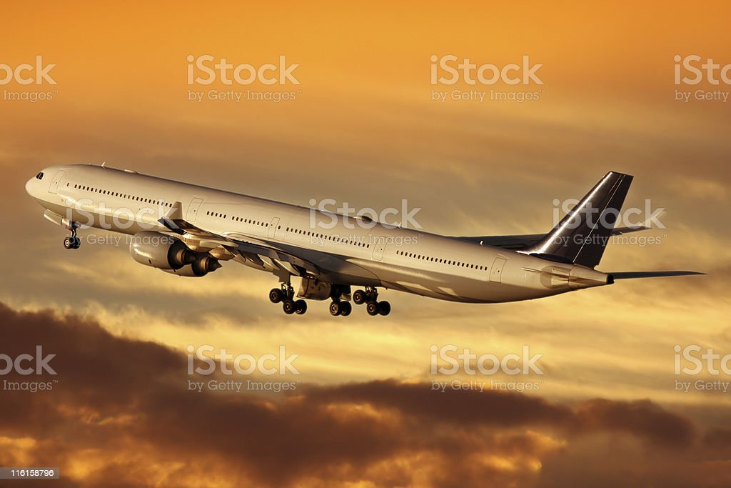 Airliner at sunrise royalty-free stock photo