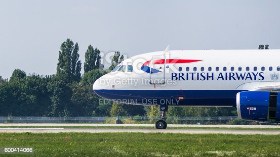 istock Airliner by British Airways close-up view 600414066
