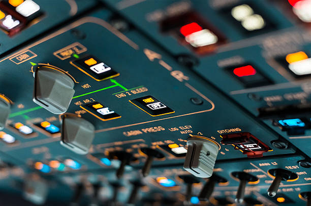 Airliner cockpit Center console  in a modern airliner dashboard vehicle part stock pictures, royalty-free photos & images