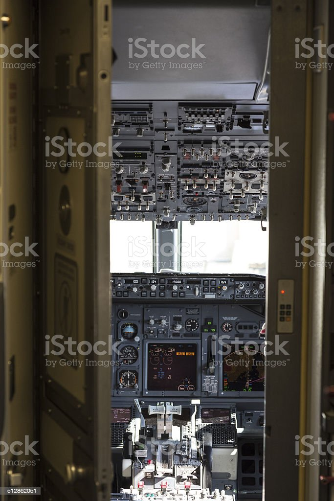 Airliner Cockpit through Security Door stock photo