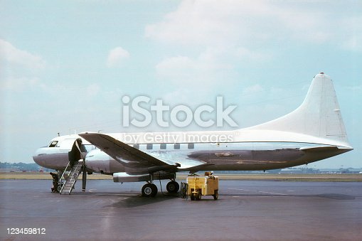 Convair CV-240 series airliner made about 1950 and photographed in 1965. Kodachrome scanned film with grain.