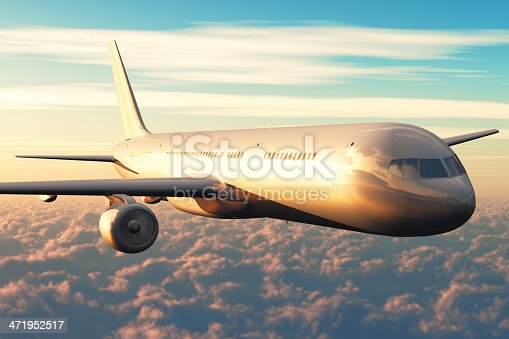 155439315istockphoto Airliner flight above the clouds in sunset 471952517