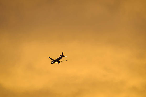 airliner flying in the evening light - aviation and environment summit stock photos and pictures
