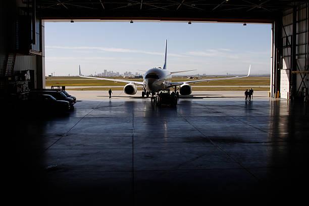 Airliner in Hangar stock photo