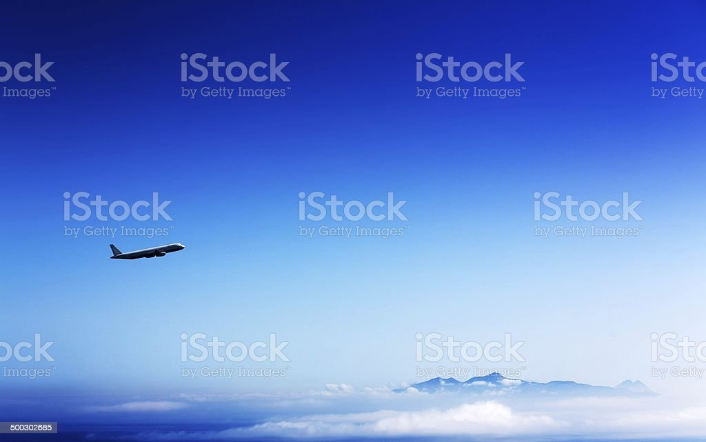 airliner in the stratosphere stock photo