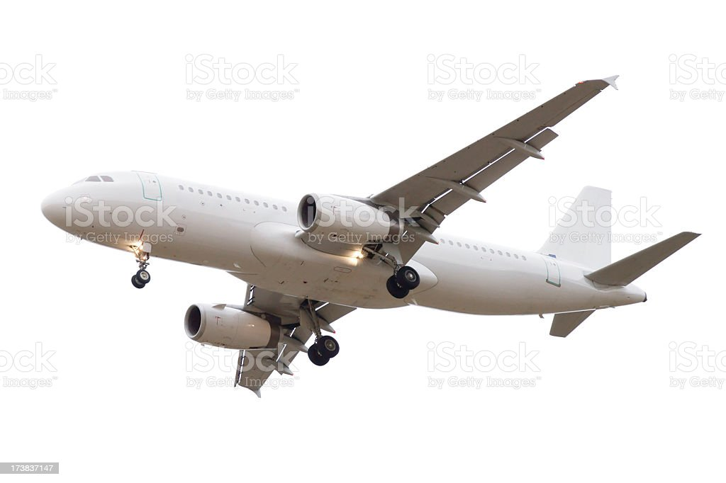 Airliner isolated on white in landing configuration Airbus A320 stock photo