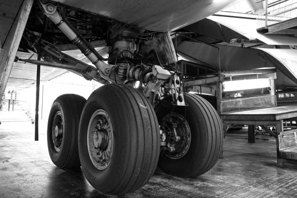 Airliner main gear stock photo