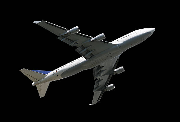 Airliner on black stock photo