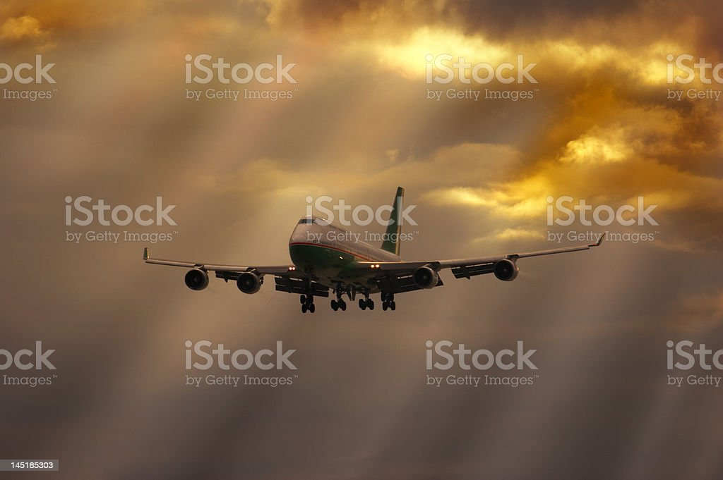 Airliner on final approach royalty-free stock photo