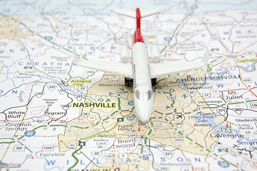 Airliner On Nashville Tennessee Road Map Stock Photo & More Pictures ...