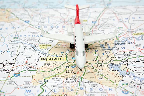 Airliner on Nashville Tennessee Road Map stock photo