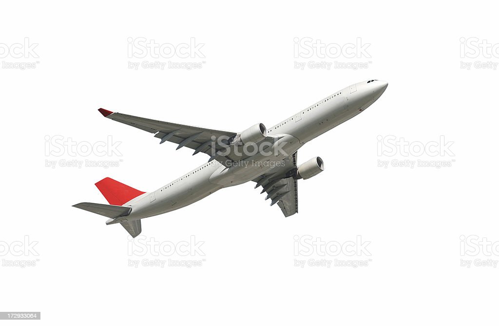 Airliner on white, climbing royalty-free stock photo