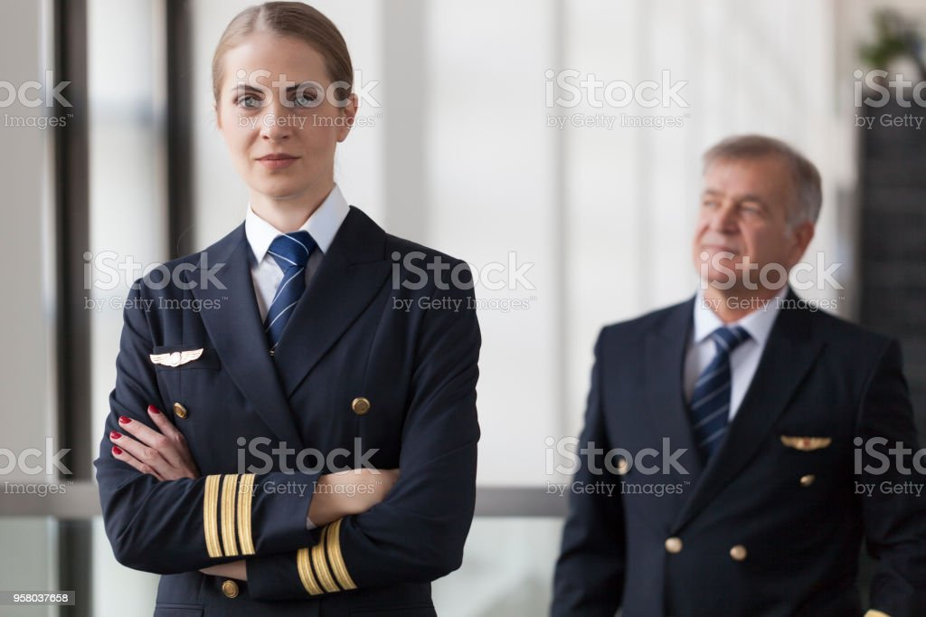 Airliner pilots stock photo