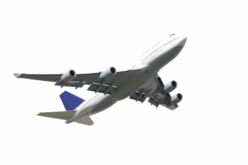 Impressive airliner taking off, isolated on pure white