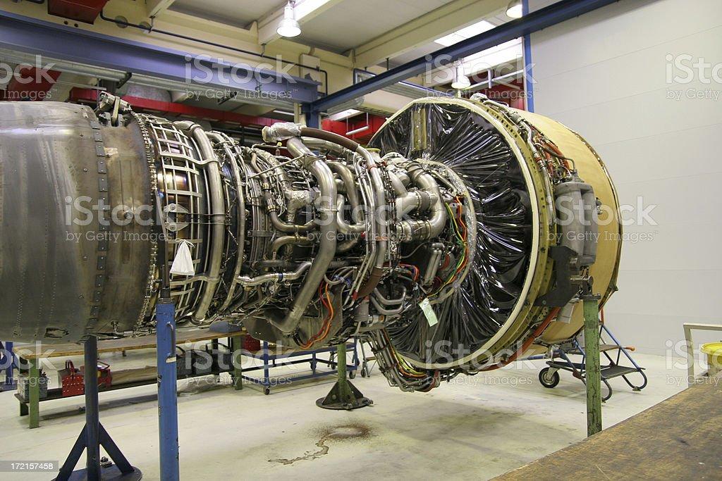 Airliner turbo jet engine, maintenance stock photo