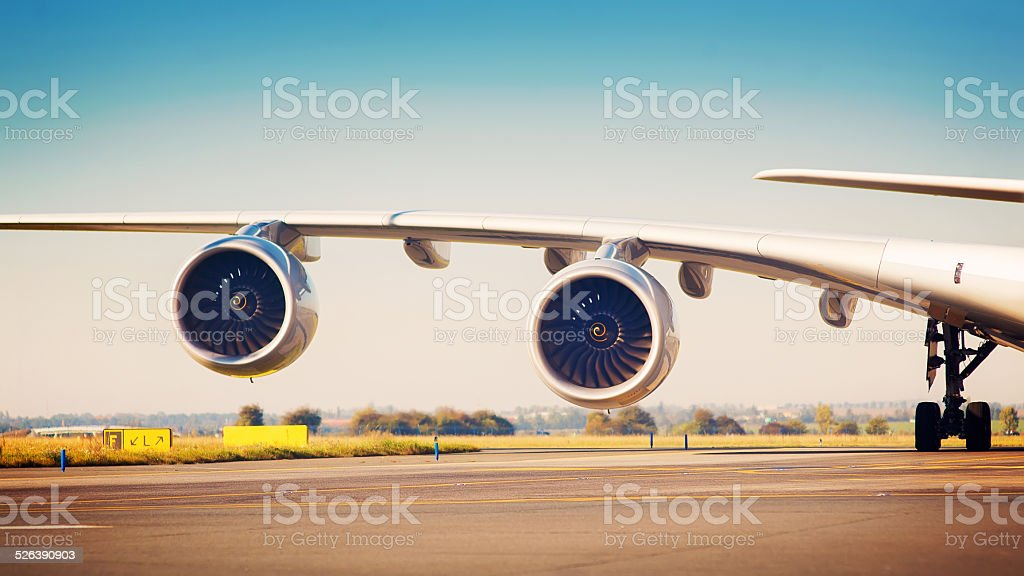 Airliner wing stock photo