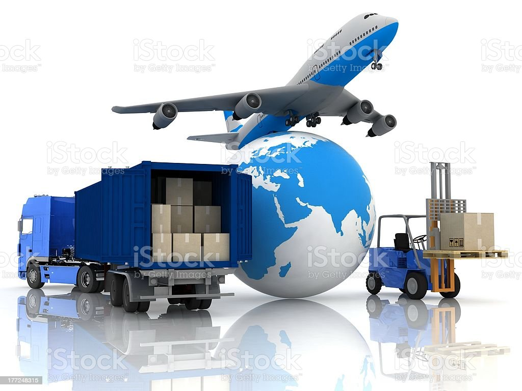 airliner with a globe and autoloader royalty-free stock photo
