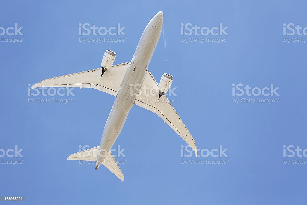 Airliners flying overhead royalty-free stock photo