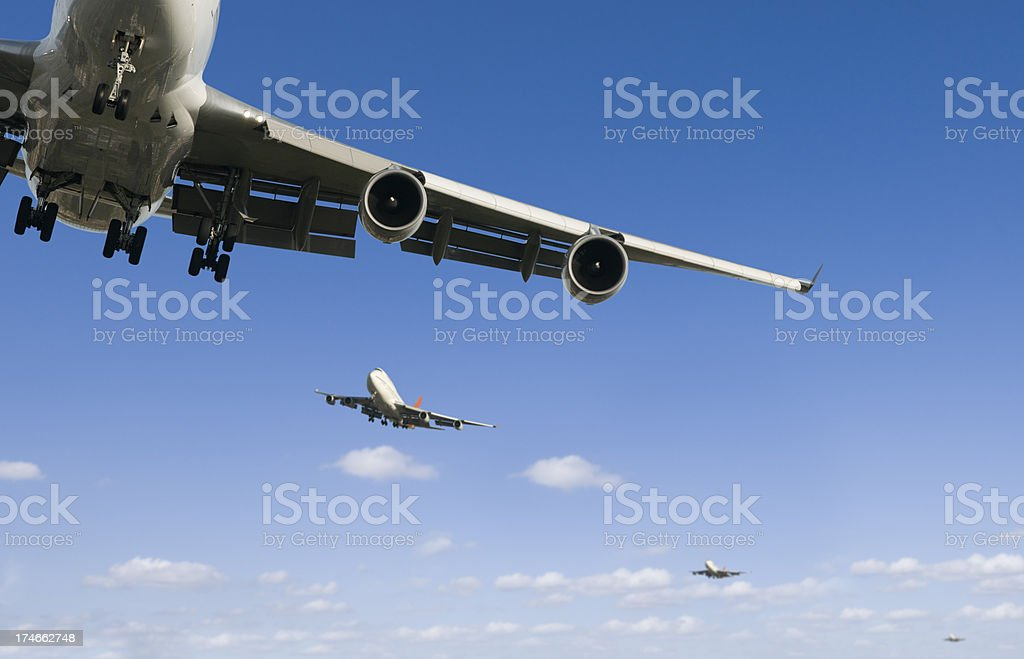 Airliners landing royalty-free stock photo