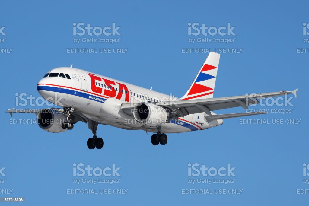 CSA airlines Airbus A319 OK-MEL landing at Sheremetyevo international airport. stock photo