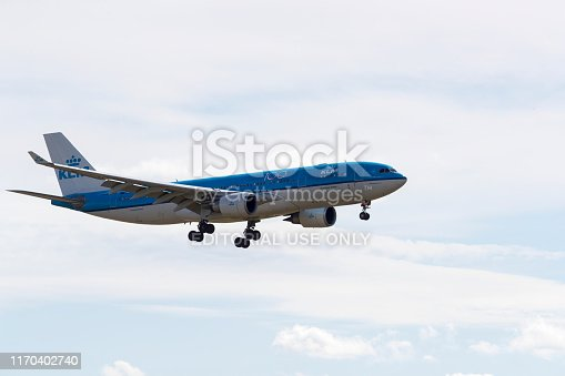 A KLM Airbus A330,with identification PH_AON,landing at Edmonton International Airport on August 26, 2019