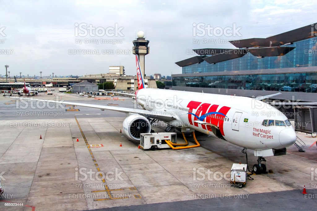 TAM Airlines Boeing 777 stock photo