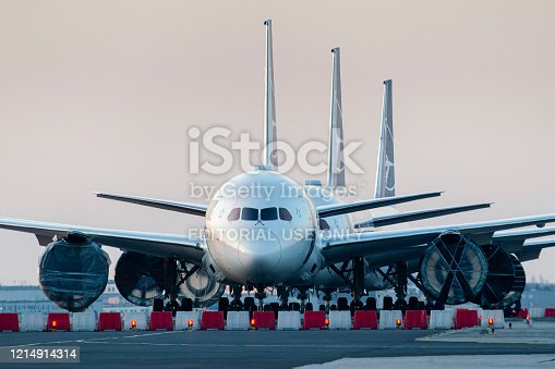 Warsaw, Poland -17/03/2020: Airlines Coronavirus, LOT Polish Airlines Boeing 787's grounded at Warsaw chopin Airport due to the global pandemic