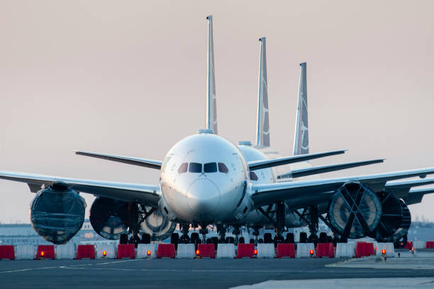 Airlines Coronavirus, grounded airplanes LOT Polish Warsaw, Poland -17/03/2020: Airlines Coronavirus, LOT Polish Airlines Boeing 787's grounded at Warsaw chopin Airport due to the global pandemic aground stock pictures, royalty-free photos & images