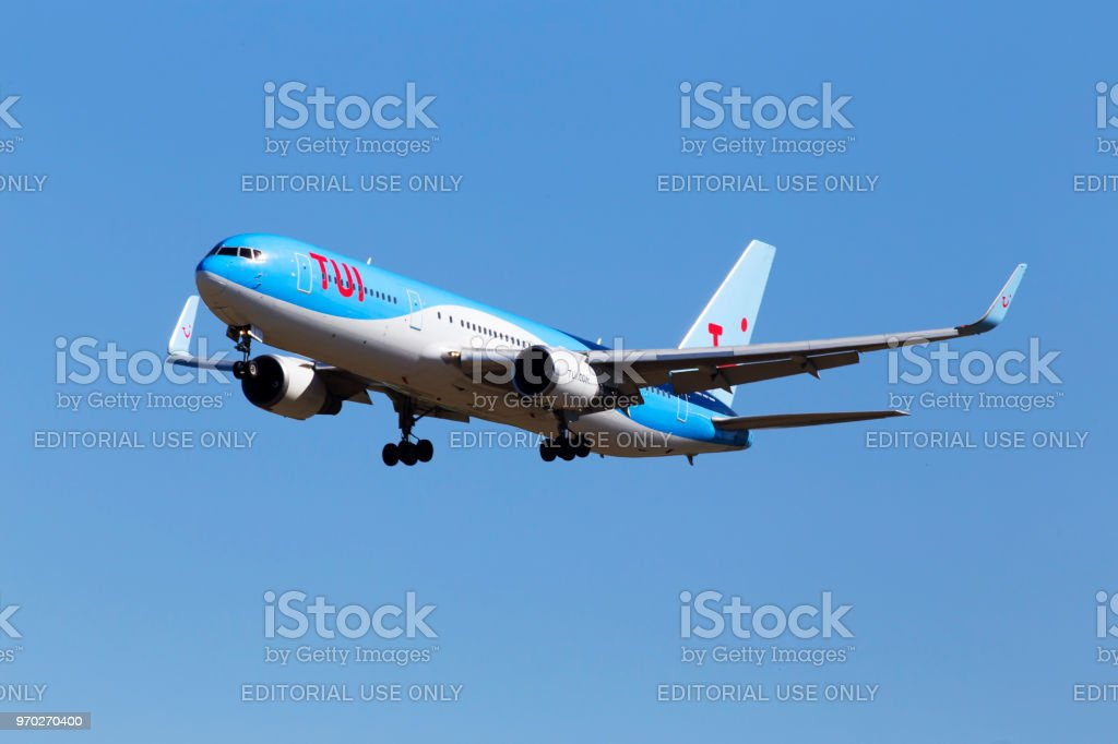 PH-OYI TUI Airlines Netherlands Boeing 767-304(ER)(WL) aircraft  on the blue sky background stock photo