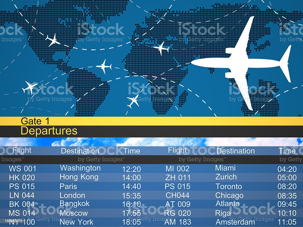 Airlines schedule and traffic graphic stock photo