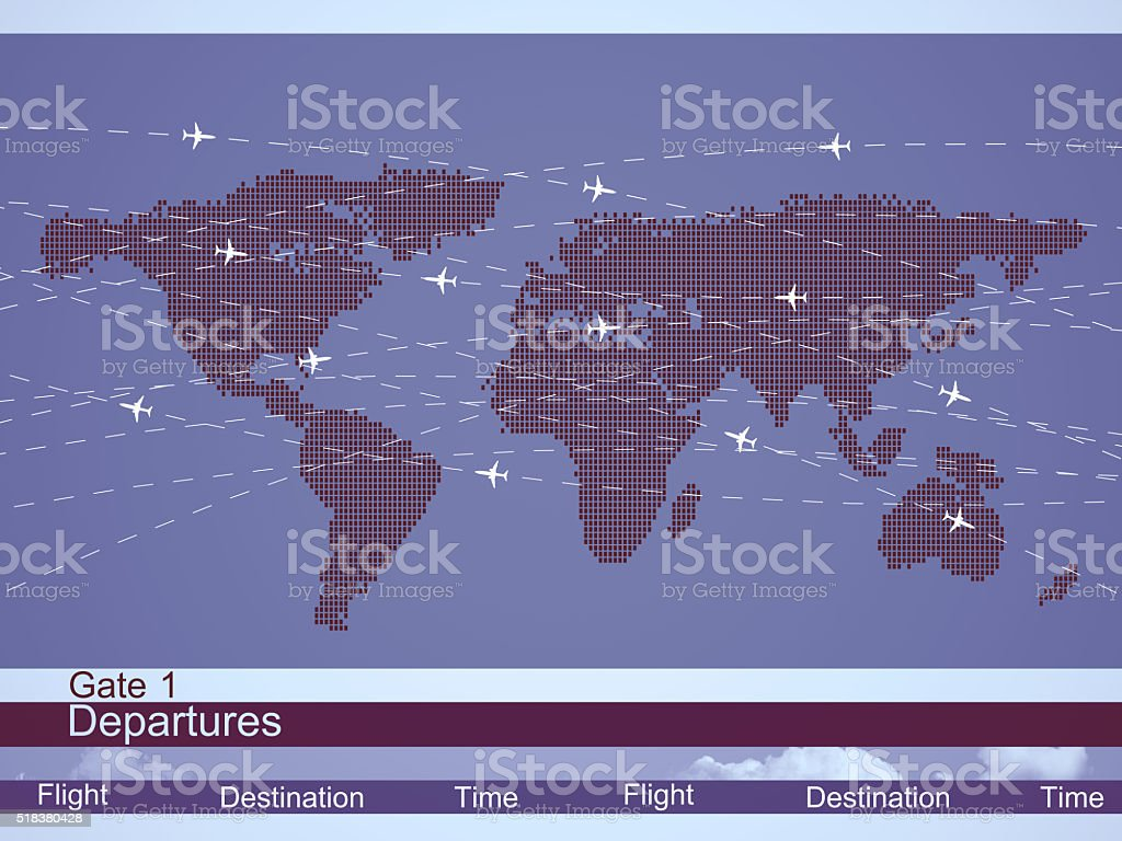 Airlines schedule and traffic stock photo