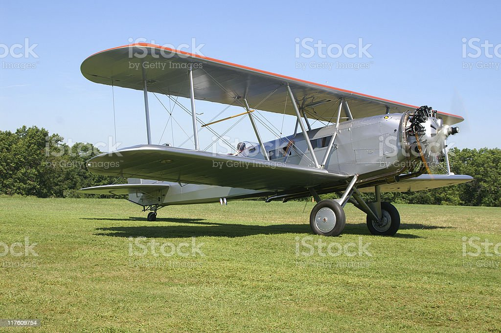 airmail biplane Boeing 40C, retro stock photo