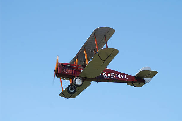 US airmail biplane De Havilland DH4 airplane flying stock photo