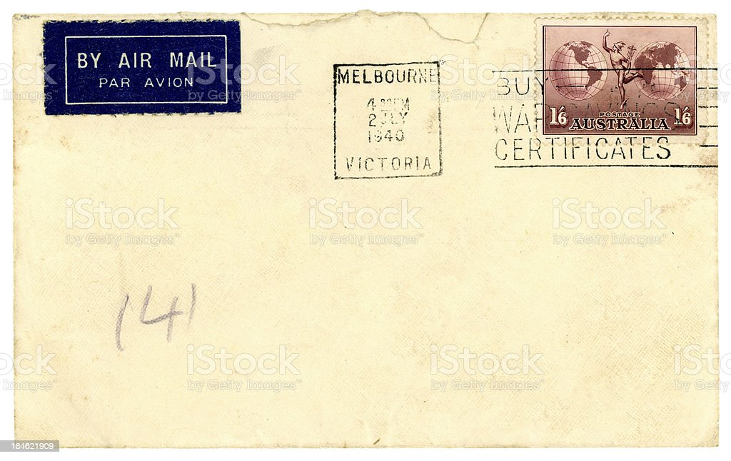 Airmail envelope from Australia, 1940 stock photo