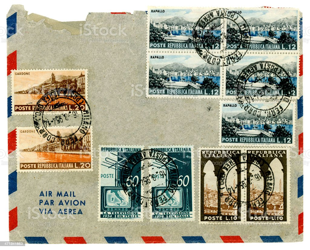 Airmail envelope from Italy, 1954 stock photo