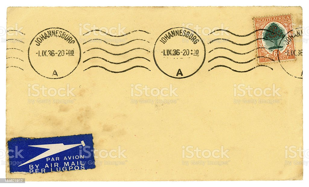 Airmail envelope from Johannesburg, South Africa, 1936 royalty-free stock photo